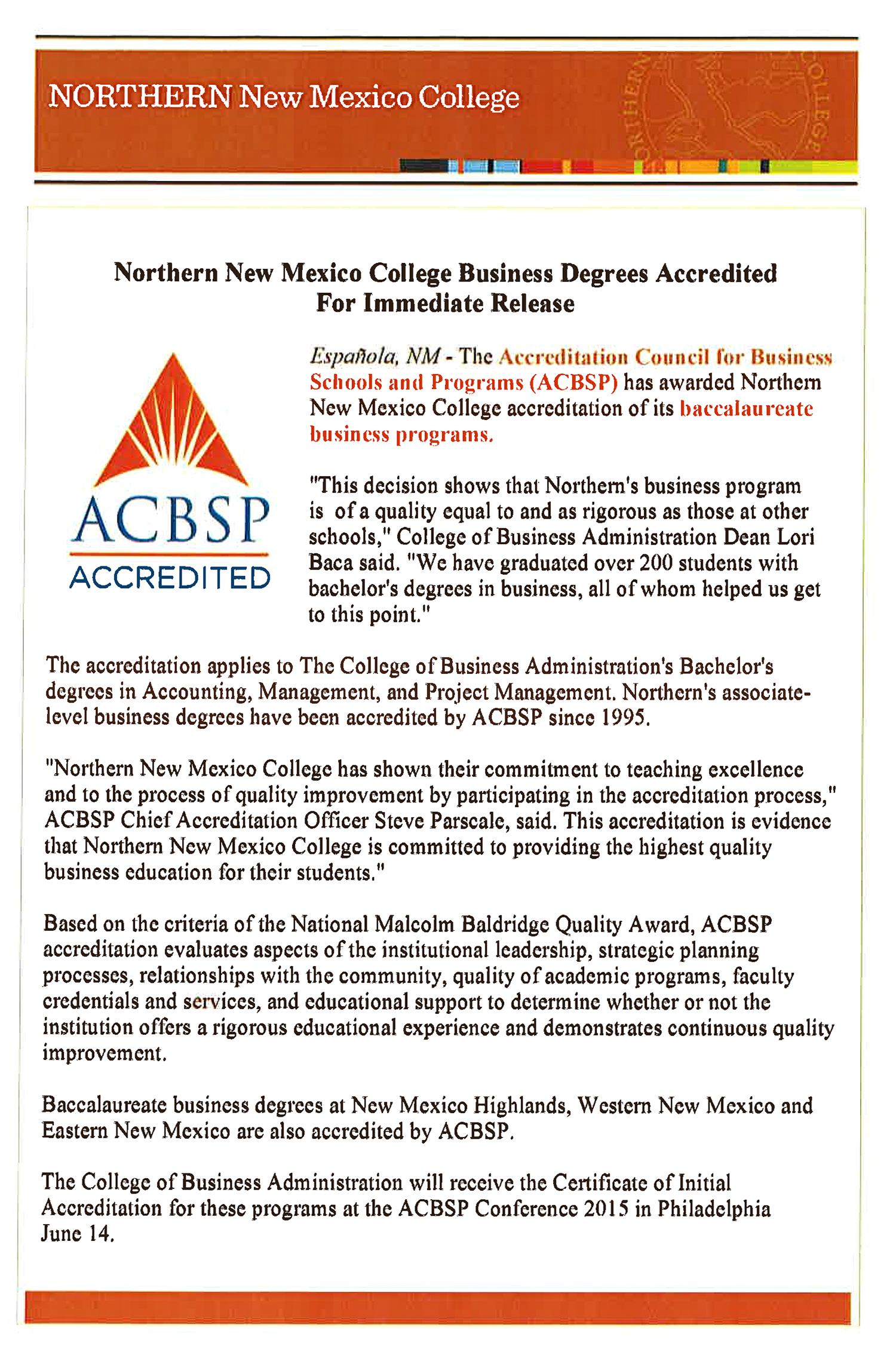 business accreditation northern new college accreditation letter from acbs