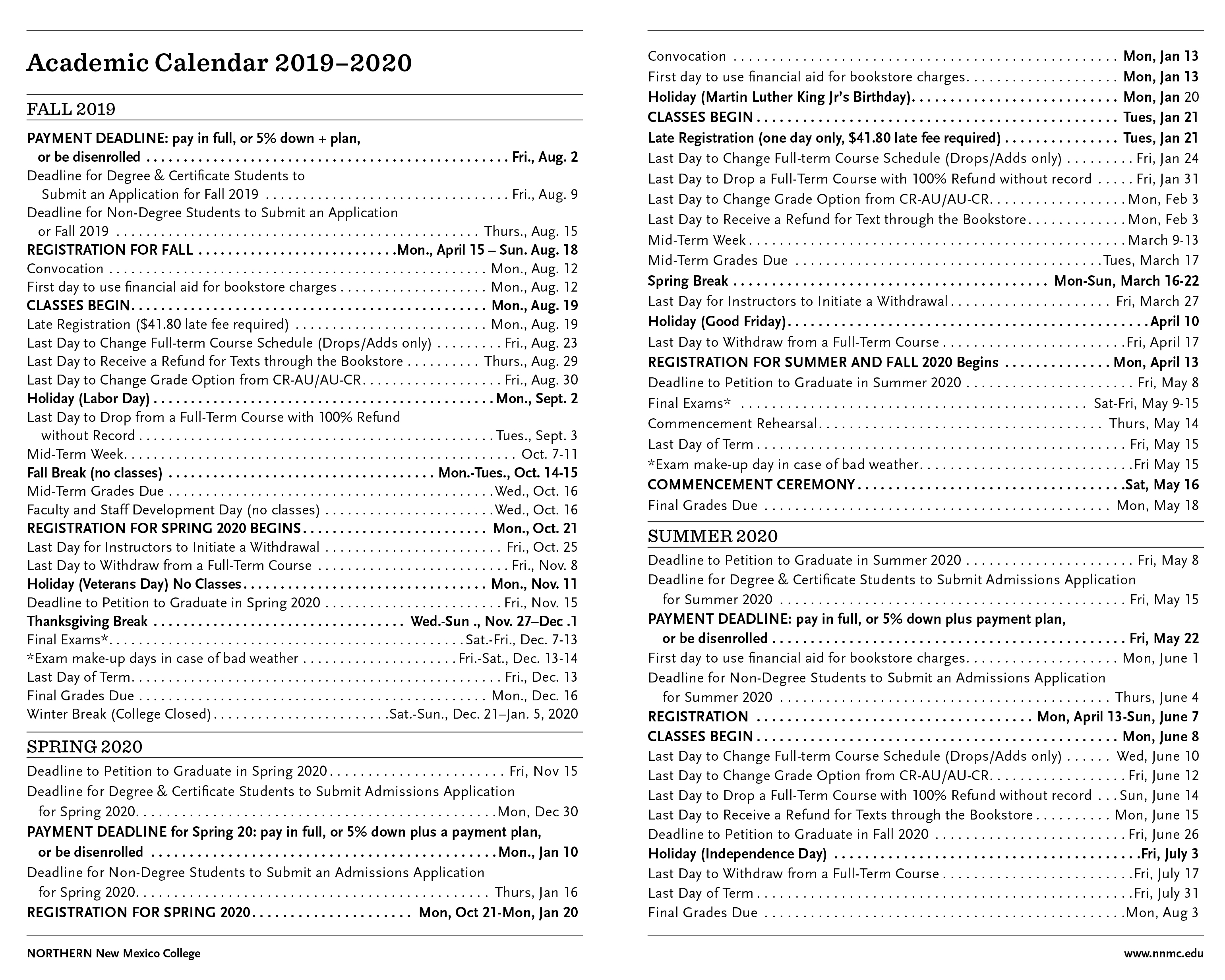 Academic Calendar 2019-20   Northern New Mexico College