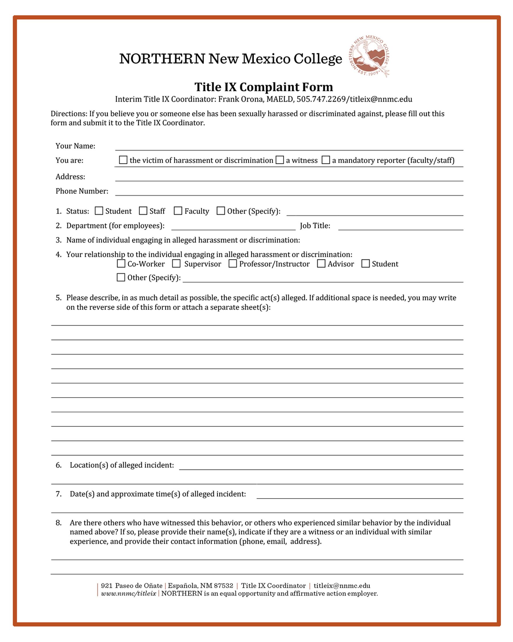 ix title form complaint grievance nnmc edu student northern mexico coordinator